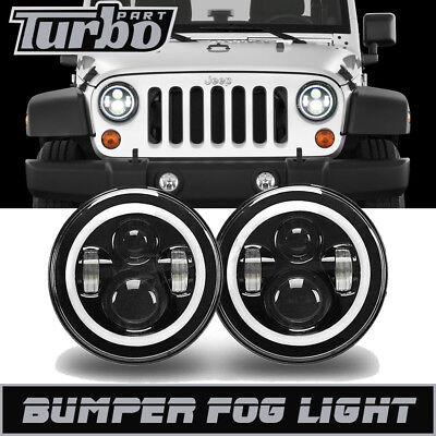 DOT H4 60W 7'' LED Projector Headlight DRL Side Halo Angel Eyes Jeep Wrangler JK