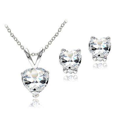 """925 Silver 2.4ct White Topaz Heart Pendant & Earrings Set, 18"""""""