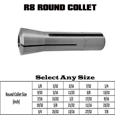 "1/8"" to 7/8"" Precision R8 Round Collet Drawbar Thread 7/16""-20 Hardened Ground"