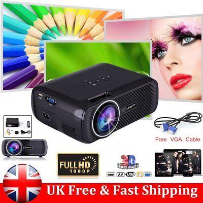 7000 lumen Uhappy Mini LED HD 1080P Projector Multimedia Home Theater Cinema 3D