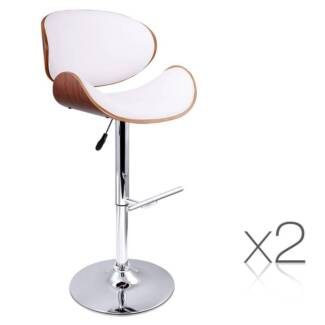AUS FREE DEL-2x Wooden Kitchen Chair Bar Stool Padded Seat White