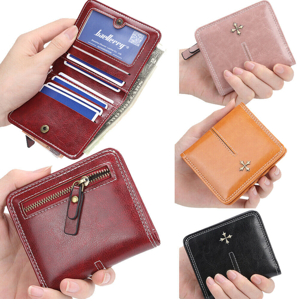 US FAST Women Small Bifold Leather Wallet Mini Zipper Coin Purse ID Card Pocket