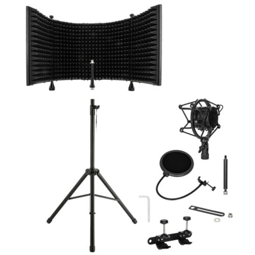Acoustic Recording Studio Microphone Isolation Shield &Heavy Duty Tripod Stand