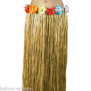 Adult-Natural-Hawaiian-Summer-Grass-Fancy-Dress-Party-Hula-Skirt-91cm-long