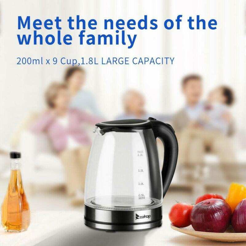 1500W 1.8L Electric Water Kettle BPA-Free Glass Tea Hot Water Fast Boiling LED