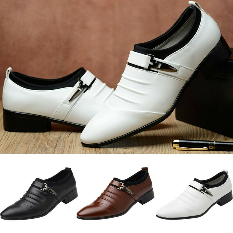 New Fashion Men/'s British Leather Shoes Pointed Toe Formal Wedding Dress Shoes