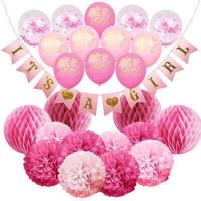 Hanging Decorations For Baby Shower (Set of 25 Party Decoration for Girl. IT'S A GIRL Baby Shower Hanging Banner)