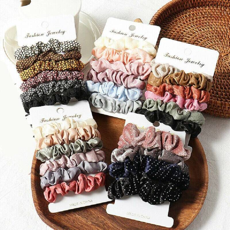 4* Soft Scrunchies Hair Ring Candy Color Hair Ties Rope Pony