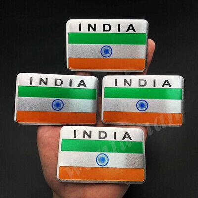 4x Aluminum India Indian Flag Car Emblem Badge Motorcycle Tank Sticker Decals