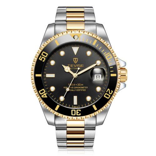 TEVISE Unisex Analog Mechanische Armbanduhr Edelstahl Automatik Uhren Golden