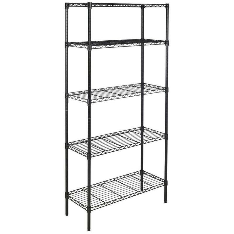 5 Layer Tier Metal Wire Shelving Storage Rack Unit Shelves for Kitchen Garage BK