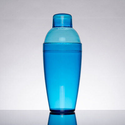 Plastic 14 oz BLUE Cocktail Shaker 3-Piece Set  (Cocktail Shaker Set 3 Piece)