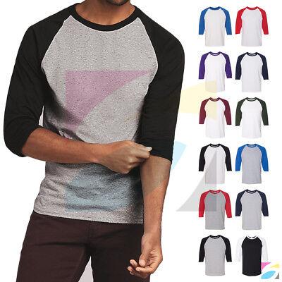 Cotton Baseball Tee (Men's Raglan 3/4 Sleeve Baseball Plain Tee Jersey Heavy Cotton T-Shirt)