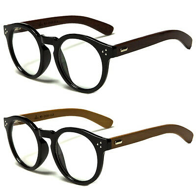 New Vintage Style Clear Lens Round Glasses Black Wood Temple Unisex -