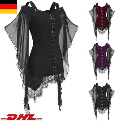 Damen Mesh Gothic Schulterfrei Oberteil Top Trompete Ärmel T-Shirt Bluse Hemd DE