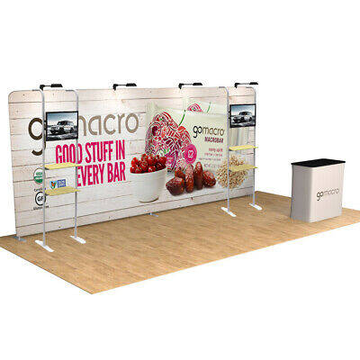 20ft Custom Trade Show Display Stand Booth Back Wall With 2 Tv Stand And Shelves