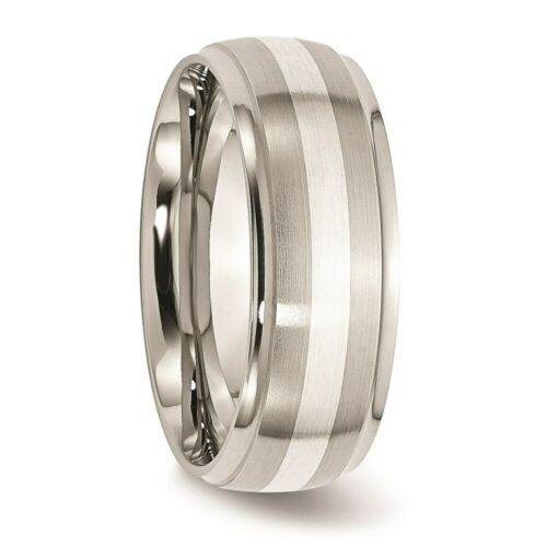 Stainless Steel Sterling Silver Inlay Ridged Edge Brushed And Polished Band - $60.00