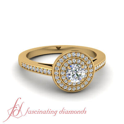 1 Carat Round Cut Double Halo Diamond Engagement Ring Pave Set For Women 14K GIA