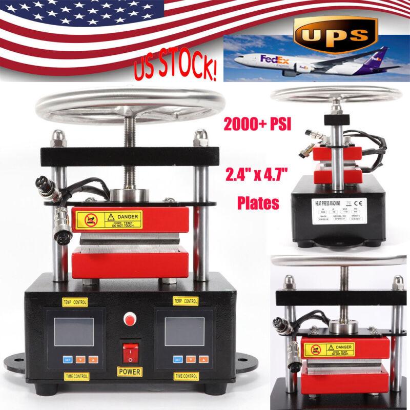 2000+ PSI Professional Hand Crank Portable Rosin Press Dual Heated Plates New
