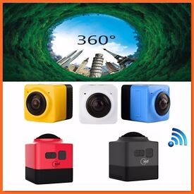 Latest Sports Action Panoramic CUBE 360 degree Build-in WiFi VR camera 1280*720