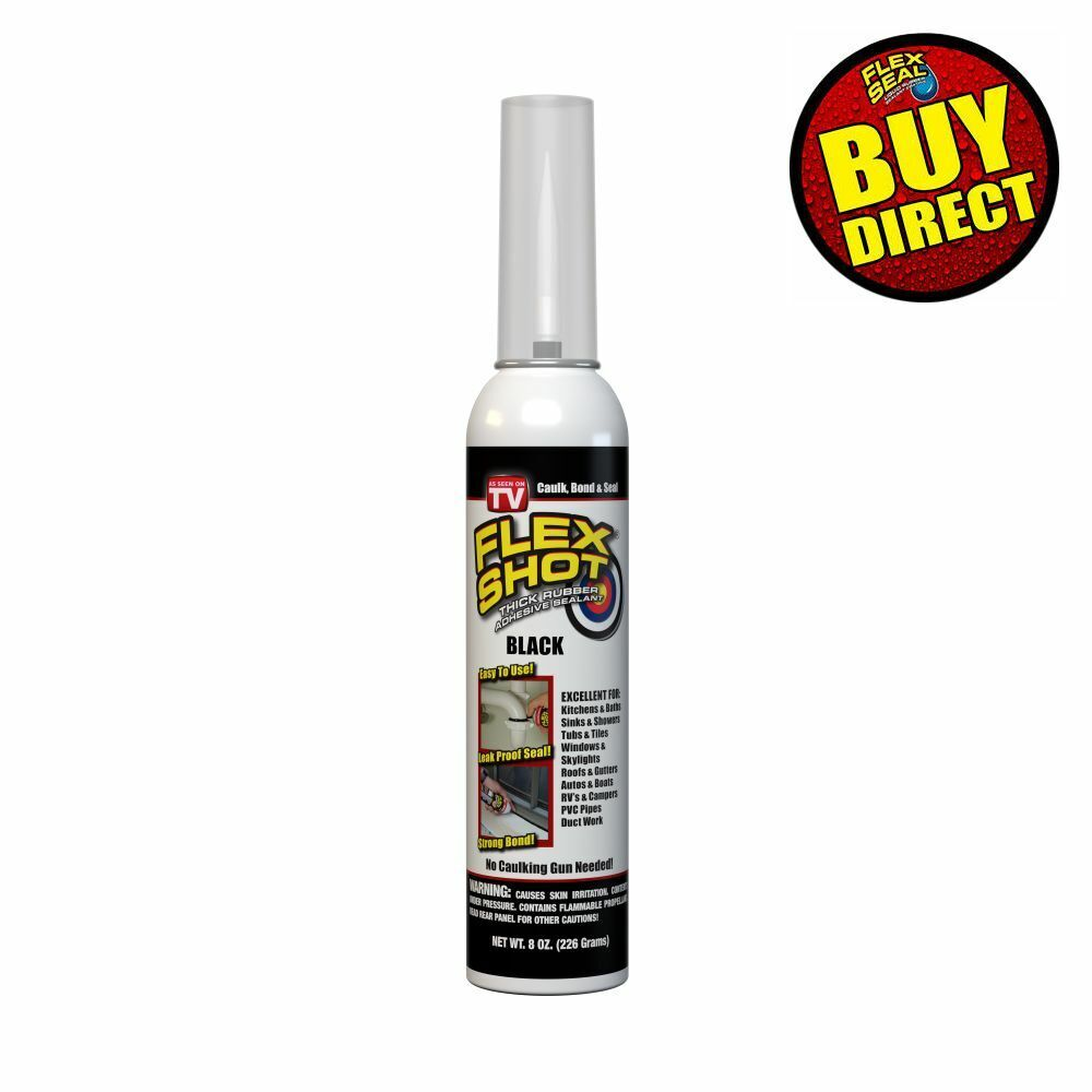 Flex Shot BLACK Rubber Adhesive Sealant Caulk, 8-oz, Black