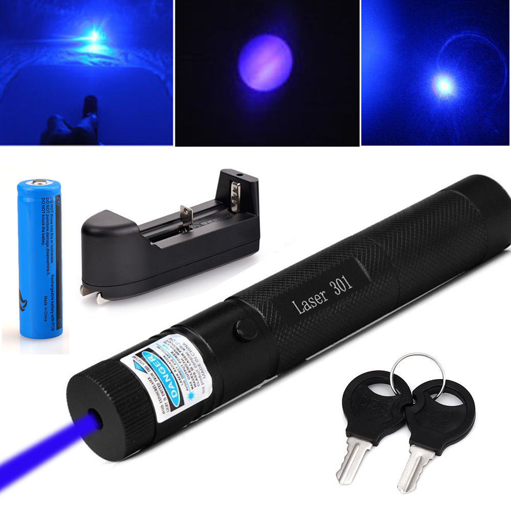 Military 405nm Blue Purple Laser Pointer Lazer Pen Beam& 18650 Battery & Charger
