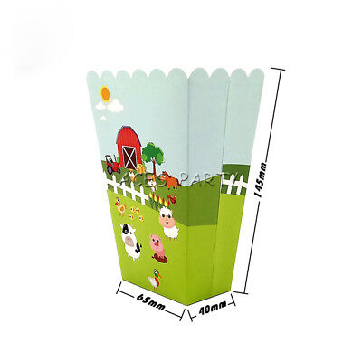 Farm Cow Pig Animals Theme Birthday Party Decoration Popcorn Box for Kids Party