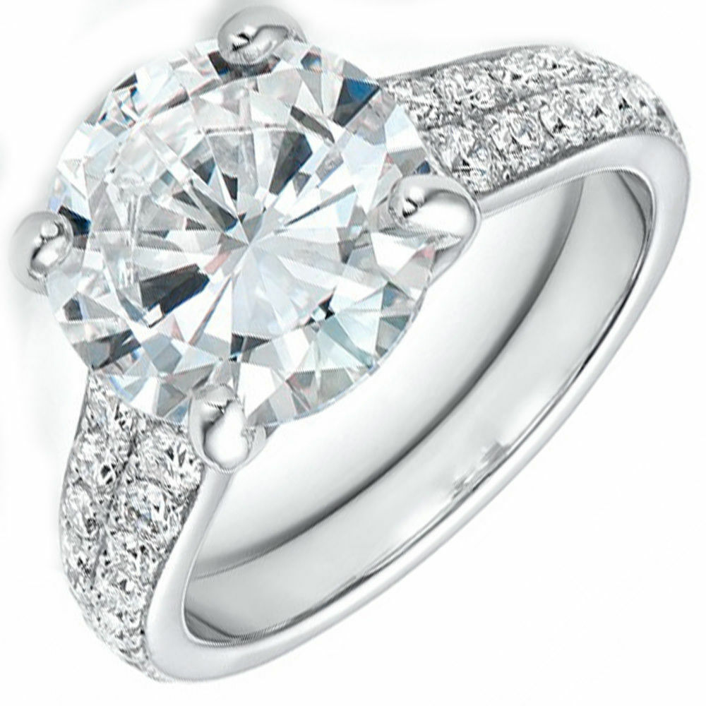 GIA Certified Natural 3.50 Carat Diamond Engagement Ring Round Brilliant 18K