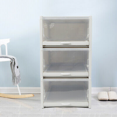 3x Caja de zapatos PP organizador de apilamiento de almacenaje transparente