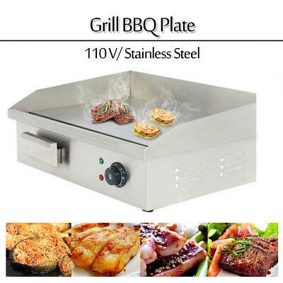 22 Commercial Countertop Flat Plate Stainless Steel Electric Griddle Grill Bbq