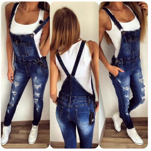 Women Straps Denim Jeans BIB Pants Overalls Straps Jumpsuit