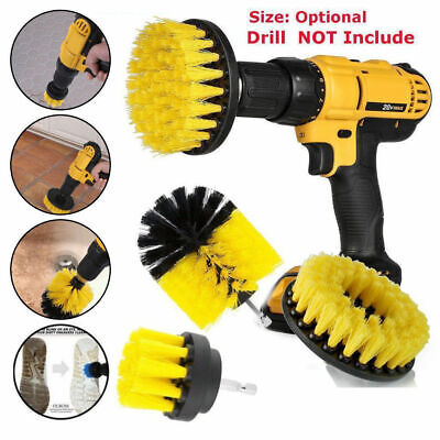 Power Scrubber Drill Brush Set Clean Shower Tile  3 Brushes Yellow 2/3.5/4 Inch