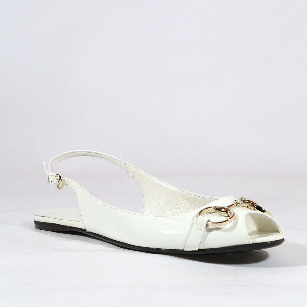 $495 Gucci Shoes for women White flat designer sandals - New - 100% Authentic