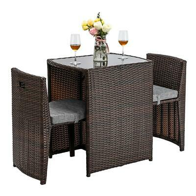 3PC Space Saving Patio In/Outdoor Furniture Wicker Rattan Bi