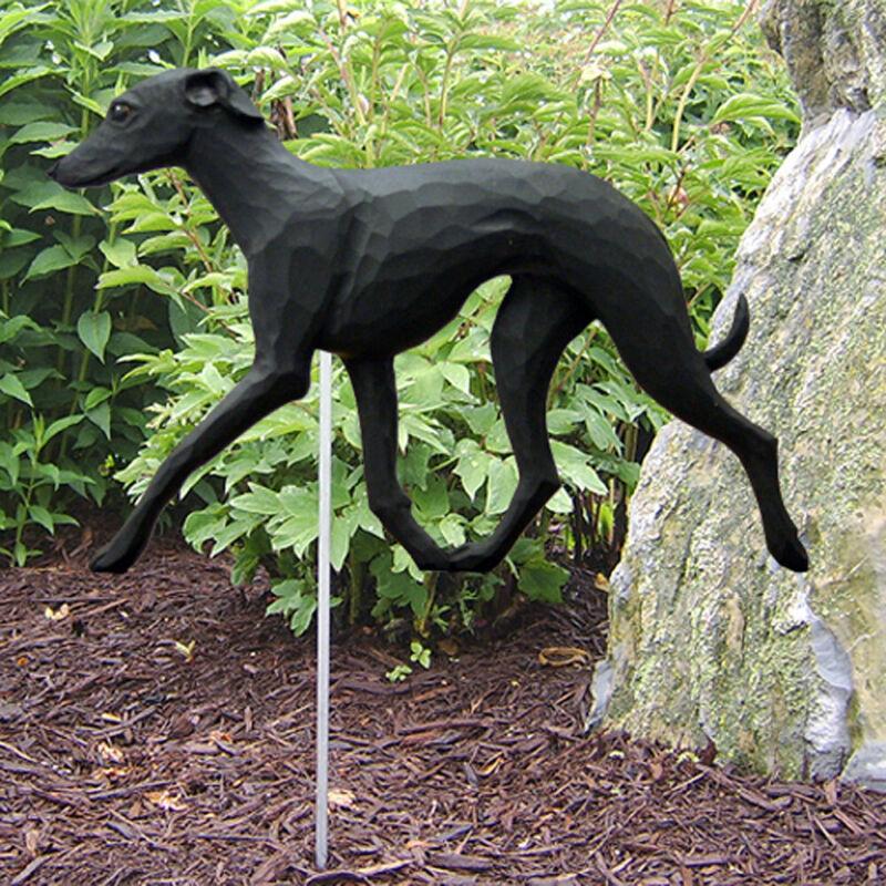 Italian Greyhound Outdoor Garden Sign Hand Painted Figure Black