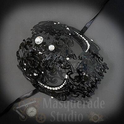 Womens Full Skull Phantom Day of the Dead Halloween Masquerade Mask [Black]