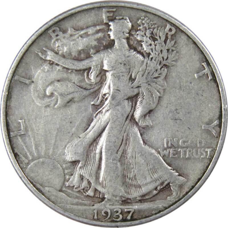 1937 D 50c Liberty Walking Silver Half Dollar US Coin Average Circulated