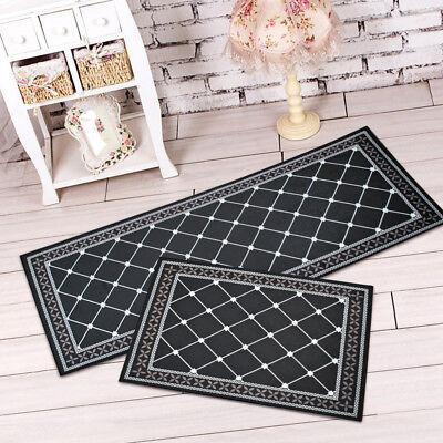Non Slip Kitchen Bathroom Floor Mat Black White Rug Door Runner Hallway Carpet - Black And White Floor Runner