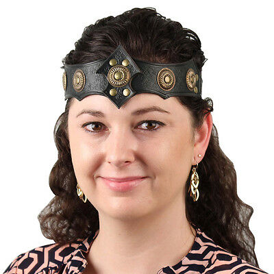 Medieval Warrior Queen Ornate Midnight Leather Viking Crown Headband Costume](Queen Crown Costume)