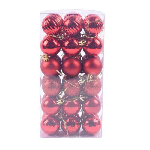 48Pcs Glitter Christmas Balls Baubles Xmas Tree Hanging Ornament Christmas Decor