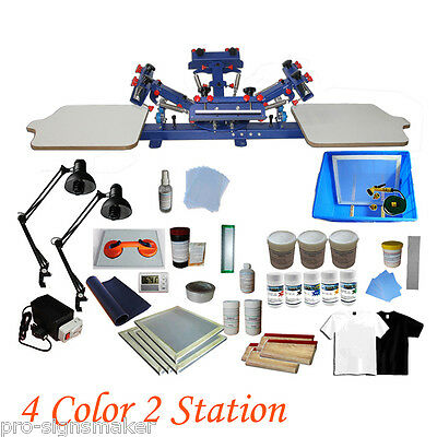 Diy 4 Color Screen Printing Press Kit Machine 2 Station Silk Screening Exposure