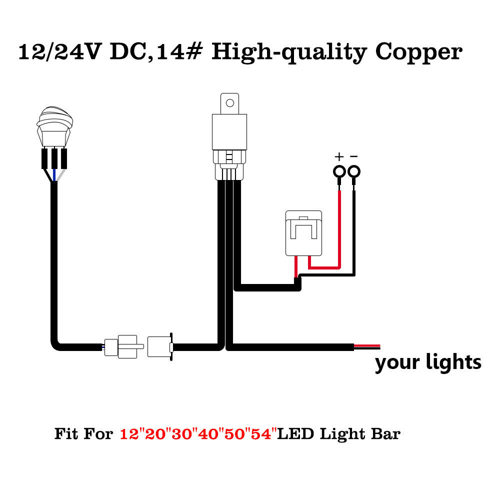 Led Driving Work Light Bar Wiring Harness Kit 12v 40a