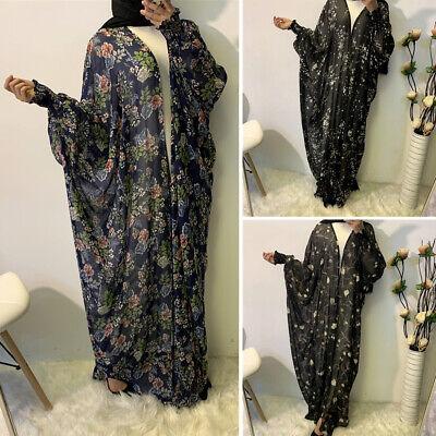 Muslim Abaya Cardigan Women Farasha Floral Printed Long Maxi Kimono Kaftan Dubai