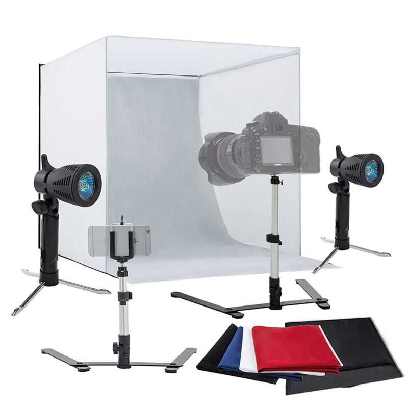 """24"""" Light Room Photo Studio Photography Lighting Tent Kit Backdrop Cube Mini Box"""