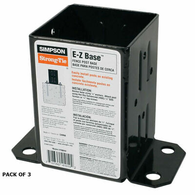 Simpson Strong 3 Count E-z Base Fpbb44 Black Powder Coated 12-gauge Fence Post B
