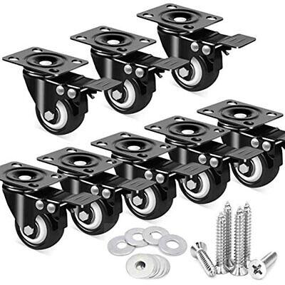 8 Pack 2 Inch Caster Wheels With Dual Locking Heavy Duty Cart Workbench Swivel
