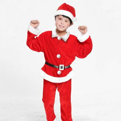 KIDS FATHER SANTA SUIT CHRISTMAS FANCY DRESS OUTFIT BOYS COSTUME FESTIVE PARTY  - Boys Santa Suit
