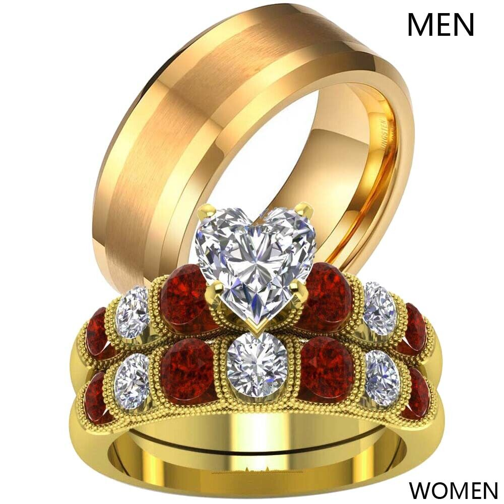 Couple Rings Titanium Steel Mens Ring Yellow Gold Filled CZ