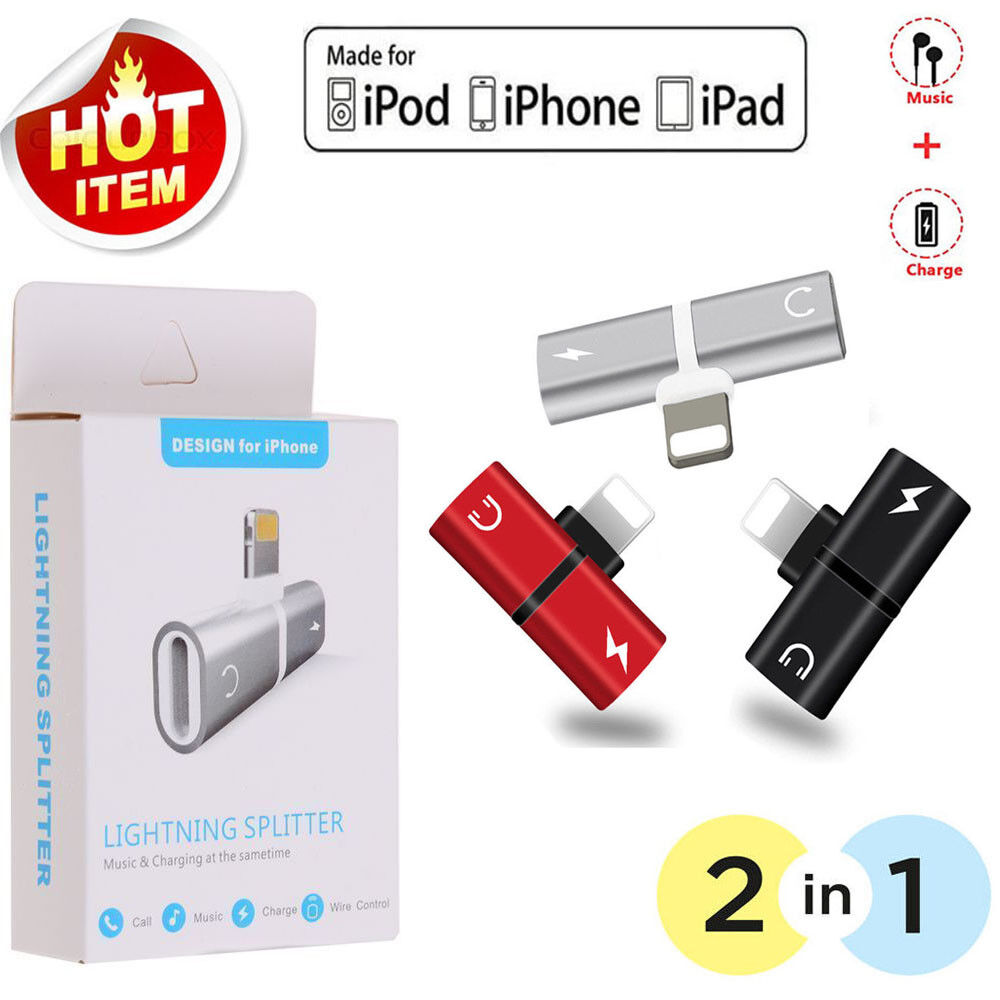 Adapter For Apple iPhone X 7 8 Plus Splitter Audio Earphone