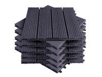 Decking Tiles Interlocking Garden Floor Grey Boards 11PCS 30cm x 30cm x 1.8cm